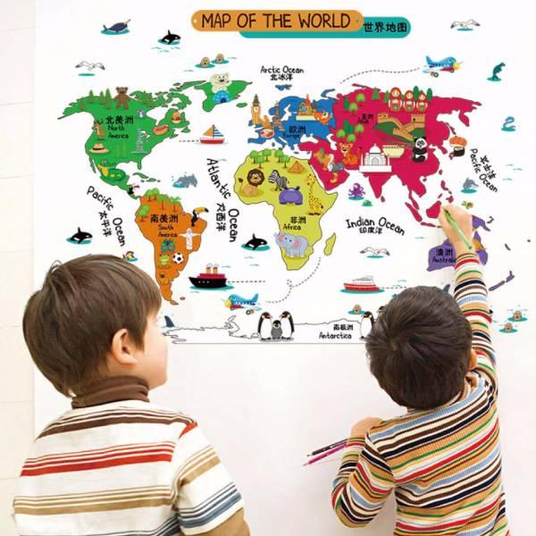 【特價優惠】環遊兒童世界地圖壁貼佈置|旅行地圖牆貼設計 壁貼, 壁貼推薦, 大型牆壁貼紙, 卡通壁貼, 可愛壁貼, 兒童壁貼推薦, 壁貼世界地圖, 創意壁貼, 兒童房壁貼, 童趣壁貼