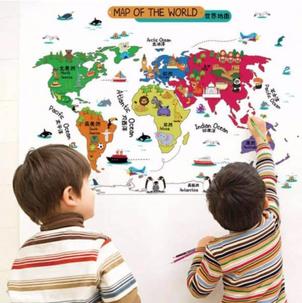 【3款】兒童環遊世界地圖壁貼佈置|旅行地圖牆貼設計 壁貼, 壁貼推薦, 大型牆壁貼紙, 卡通壁貼, 可愛壁貼, 兒童壁貼推薦, 壁貼世界地圖, 創意壁貼, 兒童房壁貼, 童趣壁貼