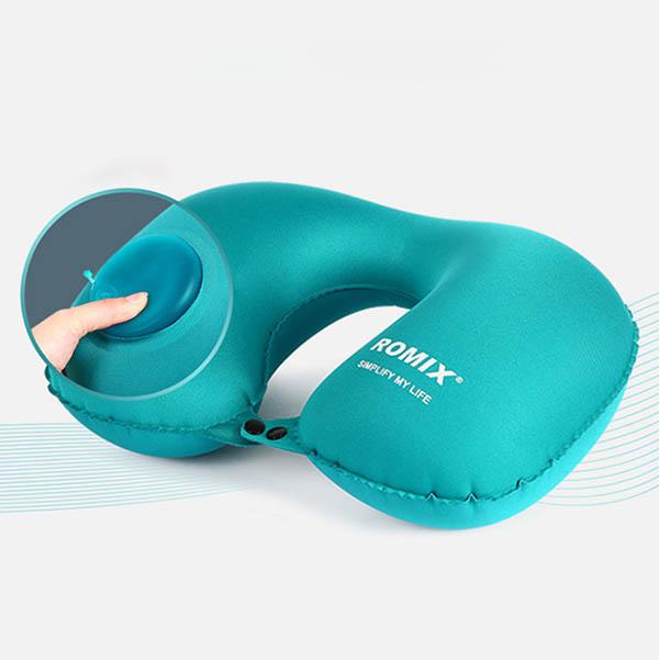 免吹按壓式充氣U型枕|3秒收納按壓頸枕 充氣U型枕,按壓頸枕,旅行枕,U型枕,頸枕,飛機枕