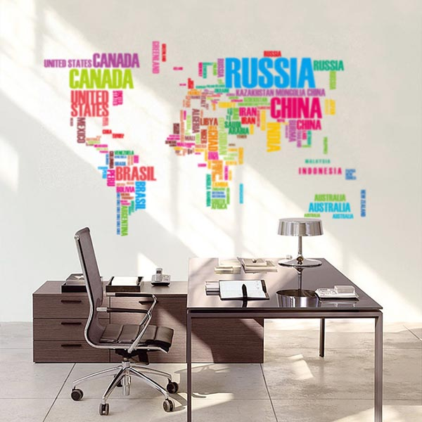 【五折】 ABC環遊世界地圖壁貼佈置 (彩色版)|旅行地圖牆貼設計