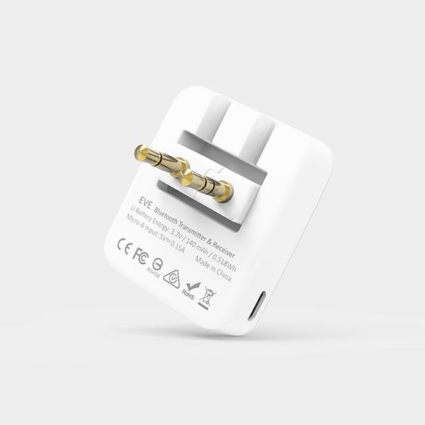 【ADAM亞果元素】EVE飛機音源藍牙轉換器|雙向藍牙音訊收發器+3D按壓充氣頸枕