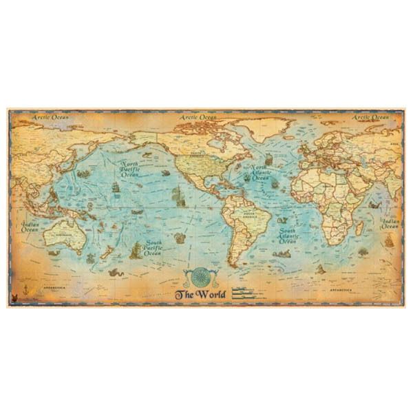 夢想啟程世界地圖- 中尺寸(90cm x 180cm) (不織布材質) 世界地圖,地圖,旅行紀錄