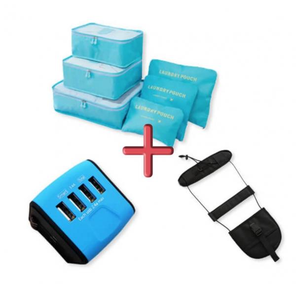 暑假限定旅行歡樂包(轉接頭 旅行實用收納袋 免提行李綁帶)|簡便多功能摺疊收納包 旅行.暑假限定,旅行歡樂包