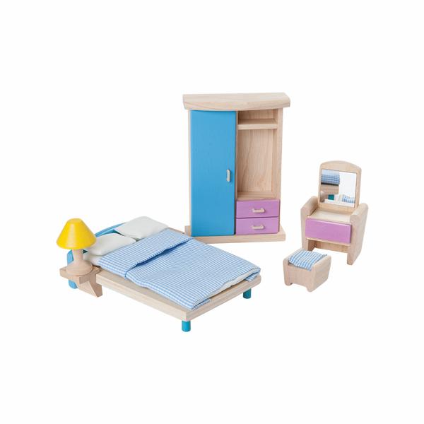 典藏娃娃屋-主臥房 泰國,天然橡膠木,木製娃娃屋家具,扮家家酒