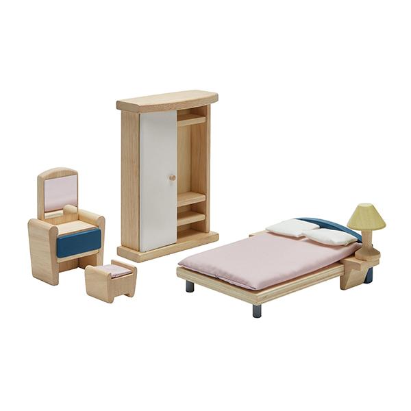 典藏娃娃屋-主臥房(清新藍) 泰國,天然橡膠木,木製娃娃屋家具,扮家家酒