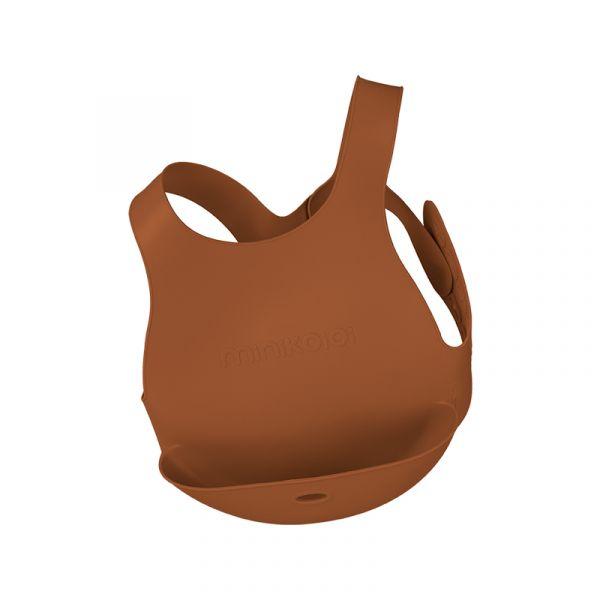 X型立體矽膠圍兜-焦糖棕 土耳其minikoioi,矽膠圍兜,背心圍兜,口袋圍兜,耐熱達200度C,食品級矽膠,嬰幼兒餐具