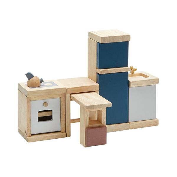 典藏娃娃屋-廚房(清新藍) 泰國,天然橡膠木,木製娃娃屋家具,扮家家酒