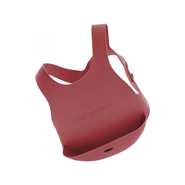 X型立體矽膠圍兜-石榴紅 土耳其minikoioi,矽膠圍兜,背心圍兜,口袋圍兜,耐熱達200度C,食品級矽膠,嬰幼兒餐具