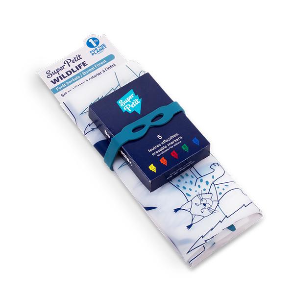 矽膠彩繪餐墊-北方針葉林 法國Super Petit,100% 食用級矽膠,水洗色筆,環保抗菌,BPA free,彩繪餐墊