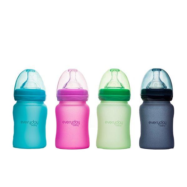 MilkHero 寬口徑防護感溫玻璃奶瓶-150ml