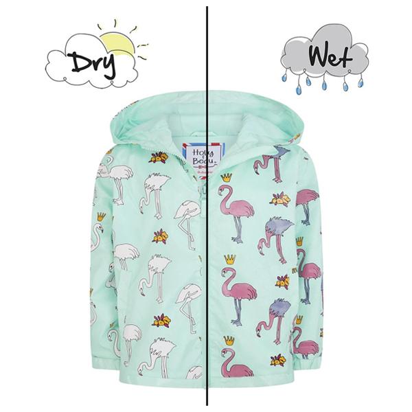 英國變色雨衣(淺綠紅鶴) 英國Holly and Beau,神奇變色雨衣,防風防水,外套