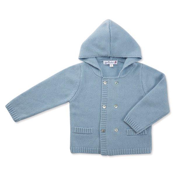 喀什米爾羊毛連帽開襟衫(寧靜藍)