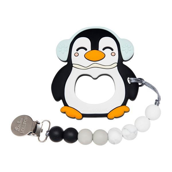 加拿大寶貝固齒器-大理石黑胖胖企鵝