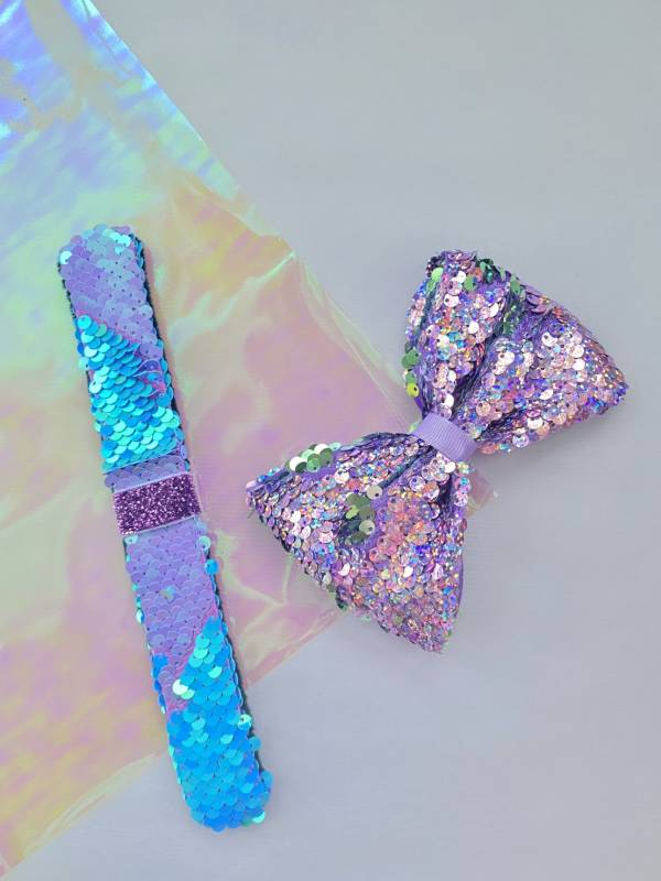 Soda n' Cream拍拍Bow(手環/髮圈/髮夾組)-紫