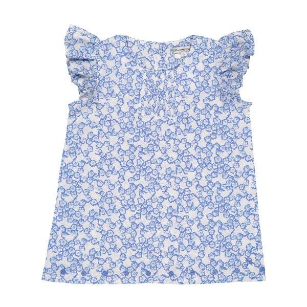 粉藍印花田園風小荷葉套裝