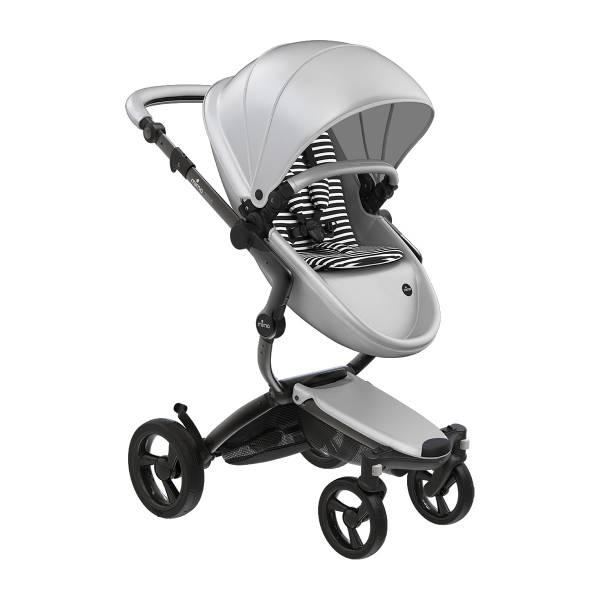 xari 頂級嬰兒推車-皓月銀(車架:曜石黑/皓月銀) 西班牙mima,xari頂級嬰兒推車,戰車型推車,環保皮革面料,2in1內置提籃,氣壓式踏板煞車