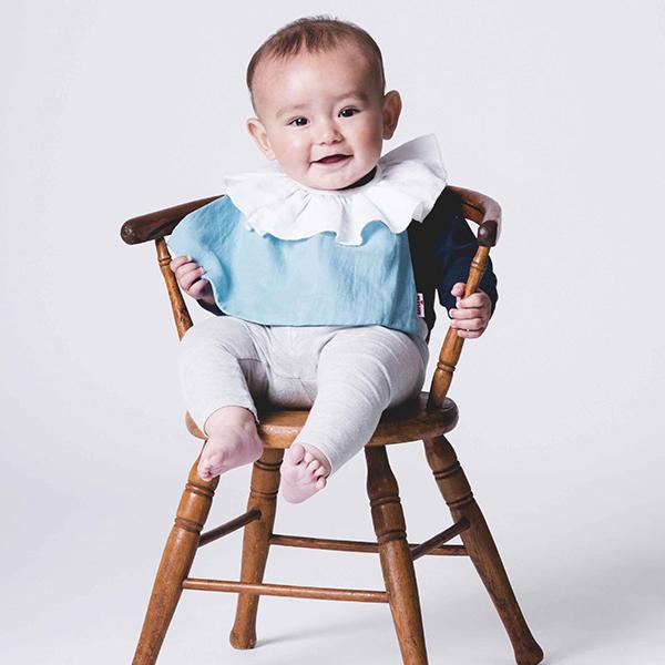 可愛造型圍兜/口水巾(知性小荷領藍)