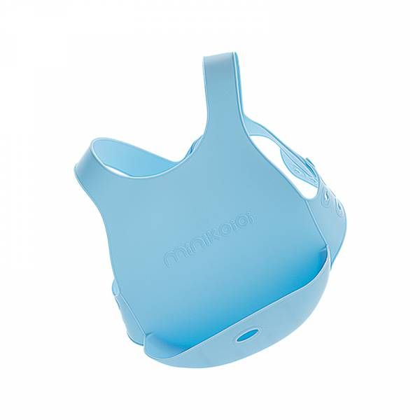 X型立體矽膠圍兜-天空藍 土耳其minikoioi,矽膠圍兜,背心圍兜,口袋圍兜,耐熱達200度C,食品級矽膠,嬰幼兒餐具