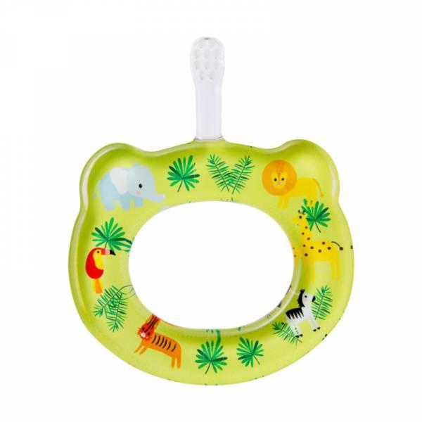 HAMICO寶寶顧齒牙刷-叢林動物 HAMICO牙刷,日本製,5個月適用,短而窄刷頭,短而柔軟刷毛,主題圖案印刷,環狀造型,輕巧