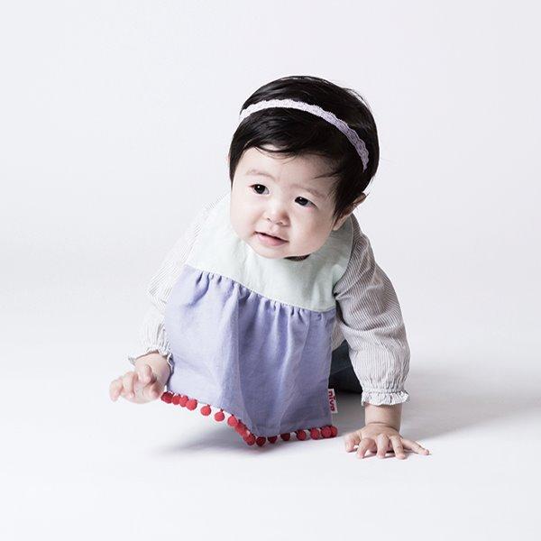 可愛造型圍兜/口水巾(薄荷小絨球)