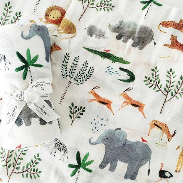 加拿大竹纖維透氣包巾-動物叢林
