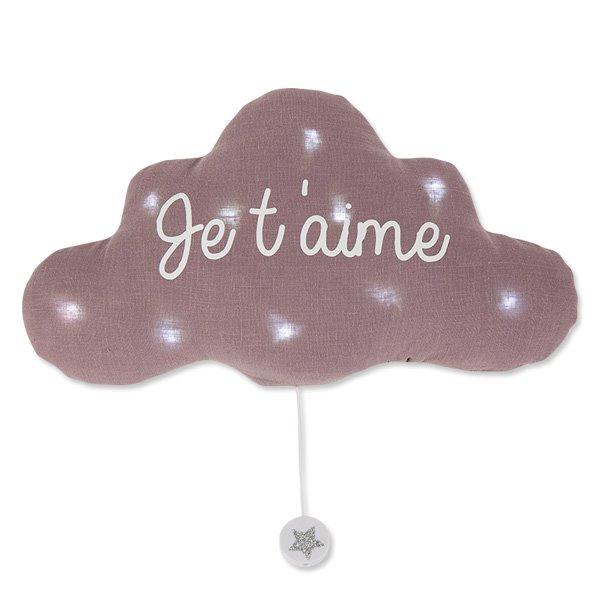 法式雲朵音樂夜燈(我愛你-淺紫灰)