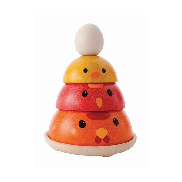 原木感統玩具-疊疊小雞