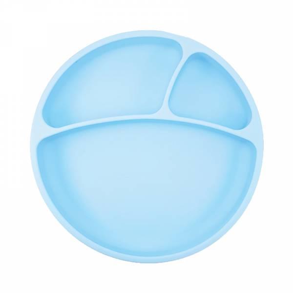 防滑矽膠餐盤-天空藍 土耳其minikoioi,矽膠餐盤,分隔餐盤,訓練獨立進食,耐熱達200度C,食品級矽膠,嬰幼兒餐具