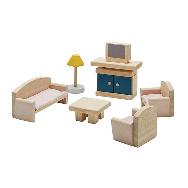 典藏娃娃屋-客廳(清新藍) 泰國,天然橡膠木,木製娃娃屋家具,扮家家酒