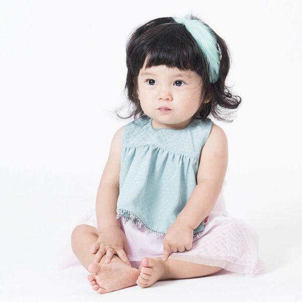 可愛造型圍兜/口水巾(氣質小淑女湖水綠)