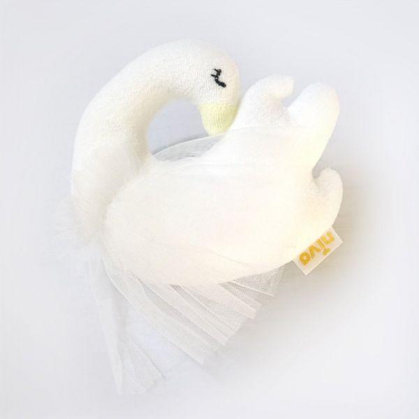 嬰幼兒造型搖鈴(優雅天鵝) 嬰兒手搖鈴,安撫玩具,毛巾布,日本製,感官刺激