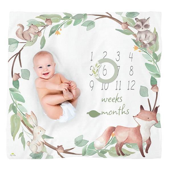 成長月齡紀念毯-森林物語 美國Itzy Ritzy,月齡紀念毯,拍照布景,棉紗,包巾,哺乳巾,浴巾,蓋毯,多功能,易洗快乾