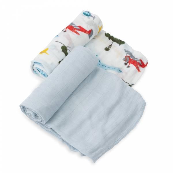 竹纖維紗布巾 兩入組(飛機總動員) 美國Little Unicorn,竹纖維,包巾,哺乳巾,浴巾,多功能,易洗快乾,抗菌抑菌,除臭