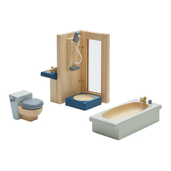 典藏娃娃屋-浴室(清新藍) 泰國,天然橡膠木,木製娃娃屋家具,扮家家酒