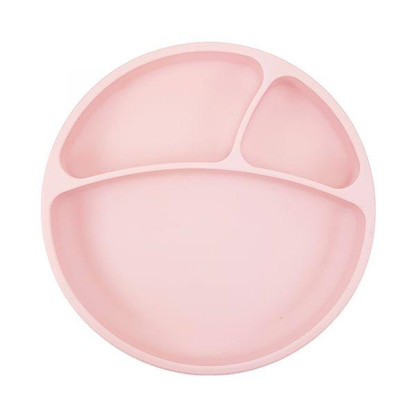 防滑矽膠餐盤-薔薇粉 土耳其minikoioi,矽膠餐盤,分隔餐盤,訓練獨立進食,耐熱達200度C,食品級矽膠,嬰幼兒餐具