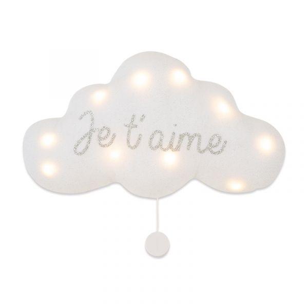 法式雲朵音樂夜燈(我愛你-銀白) 法國製,床邊吊飾,雲朵燈,音樂鈴,安撫,送禮首選,彌月禮