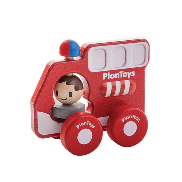 轉轉消防車 泰國,天然橡膠木,消防車,玩具車