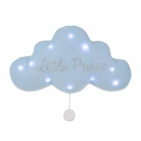 法式雲朵音樂夜燈(小王子-銀藍) 法國製,床邊吊飾,雲朵燈,音樂鈴,安撫,送禮首選,彌月禮