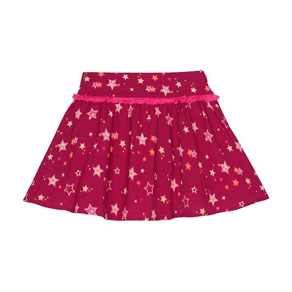 可愛星星印花鑲粉邊短裙