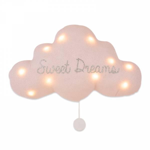 法式雲朵音樂夜燈(甜蜜美夢-銀粉) 法國製,床邊吊飾,雲朵燈,音樂鈴,安撫,送禮首選,彌月禮