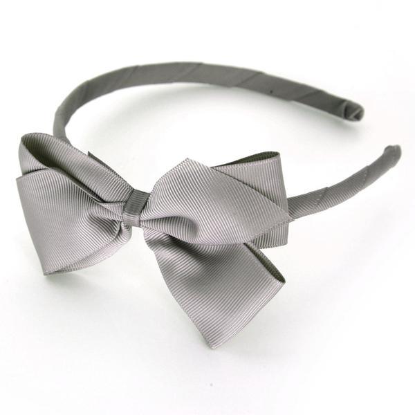 Mon Bonbon經典蝴蝶結髮箍(灰白色系)