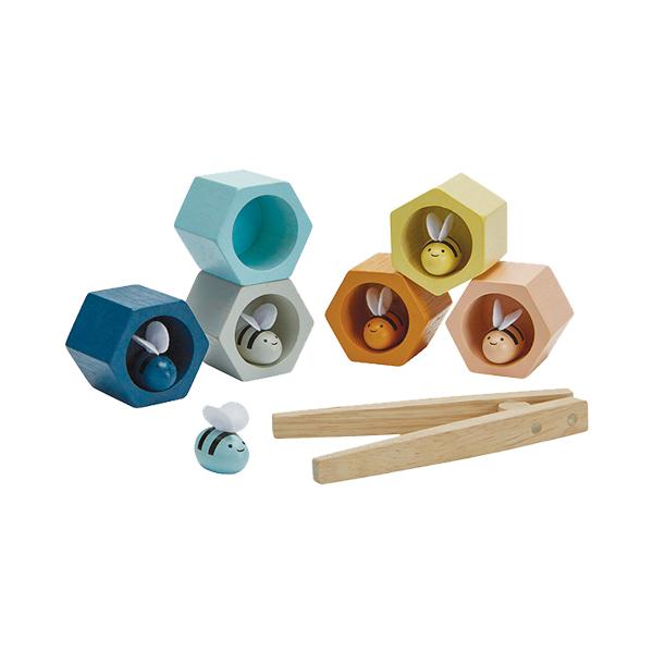 嗡嗡嗡色彩配對組(清新藍) 泰國,天然橡膠木,蜜蜂,顏色配對,小肌肉訓練