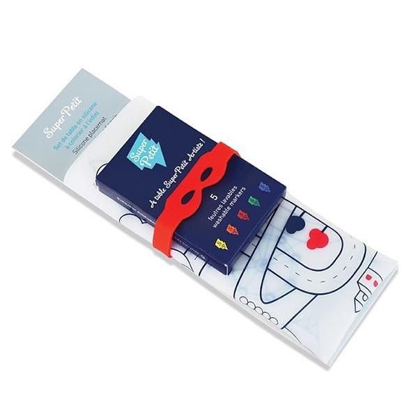 矽膠彩繪餐墊-城市探索 法國Super Petit,100% 食用級矽膠,水洗色筆,環保抗菌,BPA free,彩繪餐墊