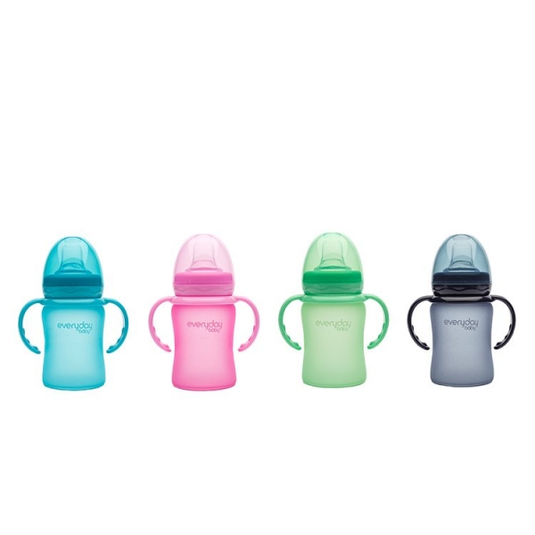 MilkHero 寬口徑防護感溫玻璃奶瓶-含可拆式握把