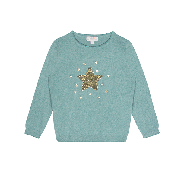 閃耀星星亮片針織衫(藍綠)