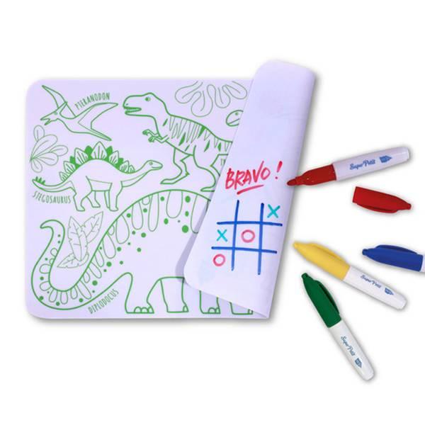 迷你矽膠彩繪餐墊-恐龍