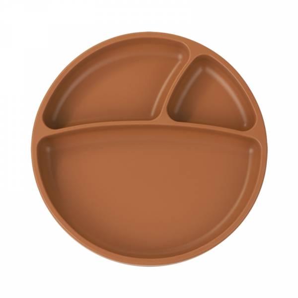 防滑矽膠餐盤-焦糖棕 土耳其minikoioi,矽膠餐盤,分隔餐盤,訓練獨立進食,耐熱達200度C,食品級矽膠,嬰幼兒餐具
