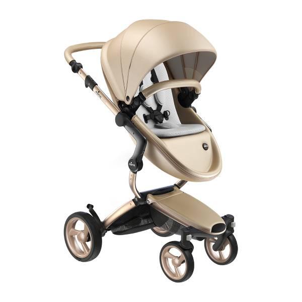 xari 頂級嬰兒推車-流光金(車架:流光金/晶礦灰) 西班牙mima,xari頂級嬰兒推車,戰車型推車,環保皮革面料,2in1內置提籃,氣壓式踏板煞車