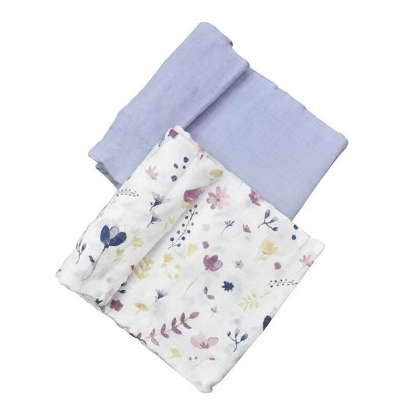 竹纖維紗布巾 兩入組(精靈花園) 美國Little Unicorn,竹纖維,包巾,哺乳巾,浴巾,多功能,易洗快乾,抗菌抑菌,除臭