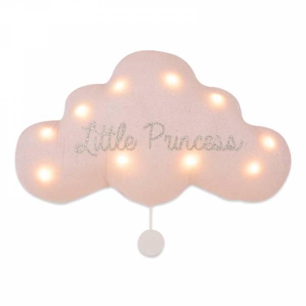 法式雲朵音樂夜燈(小公主-銀粉) 法國製,床邊吊飾,雲朵燈,音樂鈴,安撫,送禮首選,彌月禮